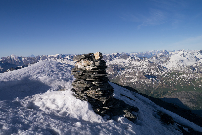 The snowy summit (Is usually rocks in summer)