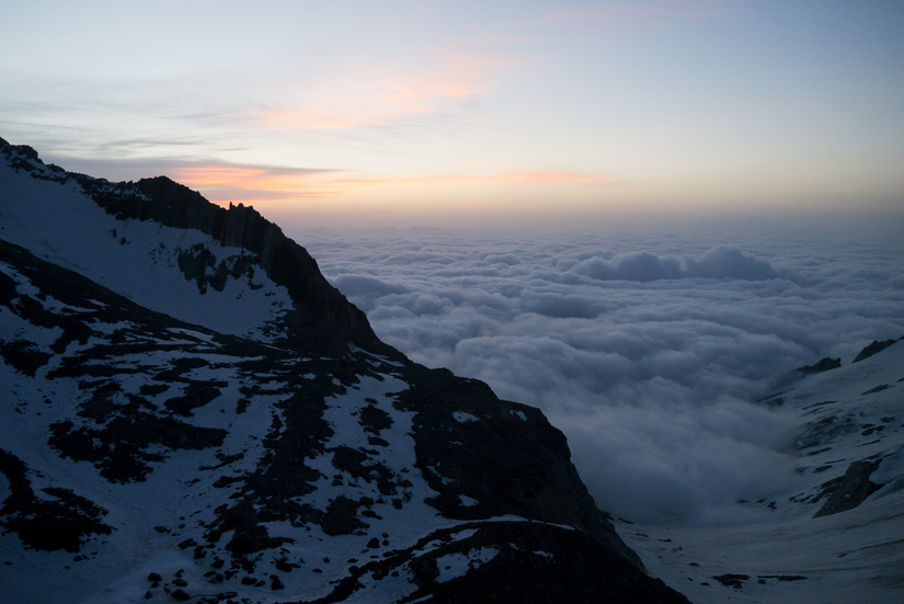 Stunning inversion at dawn from the Zwischbergenpass