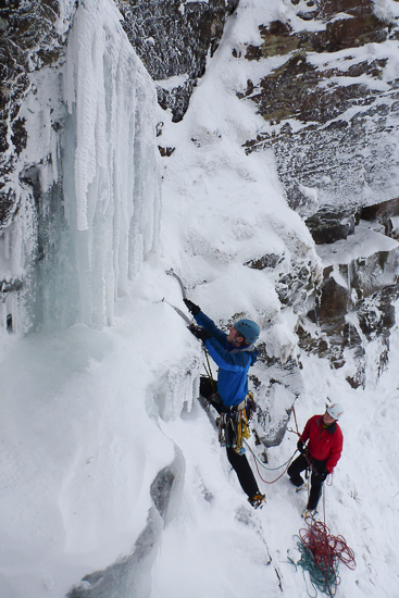 Me starting the ice on Waterfall Gully