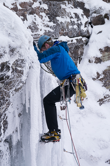 Me climbing the ice pitch on Waterfall Gully
