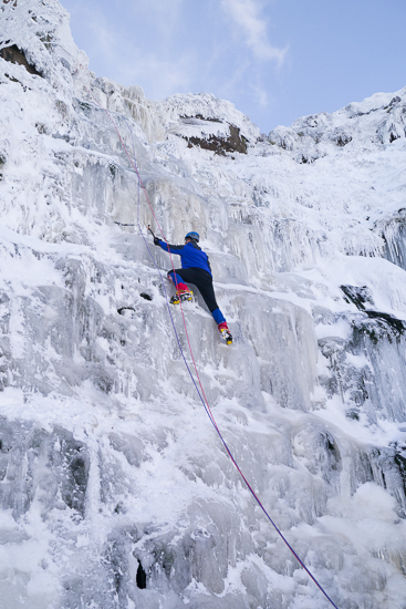 A solo climber tackling the main pitch