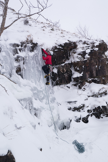 Zack climbing the first pitch of Craig y Fro