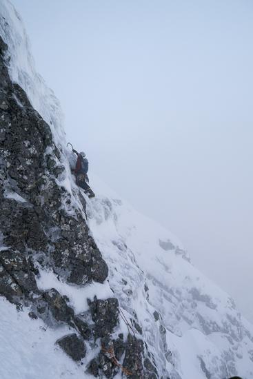 Nick leading the crux traverse