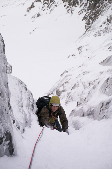 At the top of the steep section of the second pitch