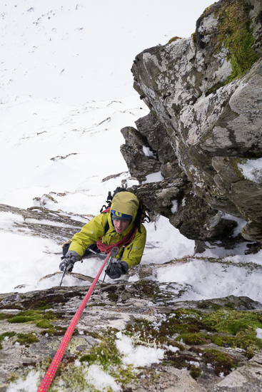 Mixed climbing up the crux