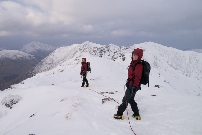 Roped up on Am Bodach at the start of the Aonach Eagach ridge