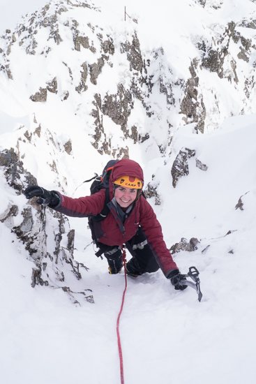 Climbing up an easy gully