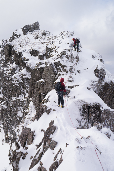 Scrambling up after a narrow section