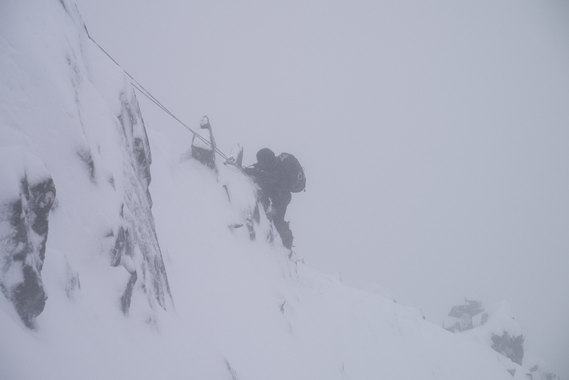 Climbing up the Arete