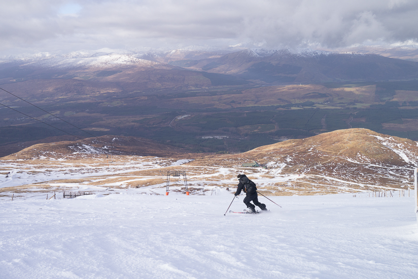 Skiing down Flight