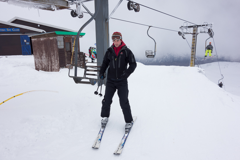 James at the top of a single seat chairlift!
