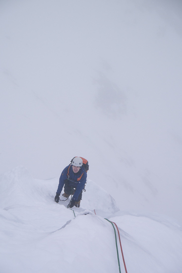 Approaching the top of the second pitch