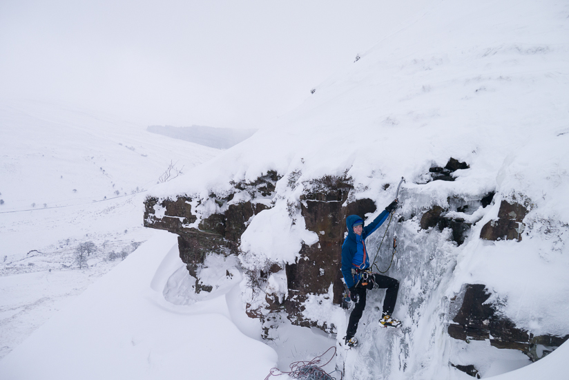 Me soloing the top pitch of Craig y Fro