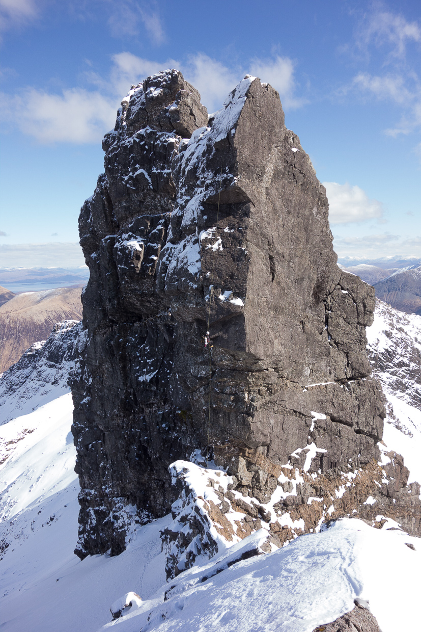 Abseiling down the Bhasteir Tooth