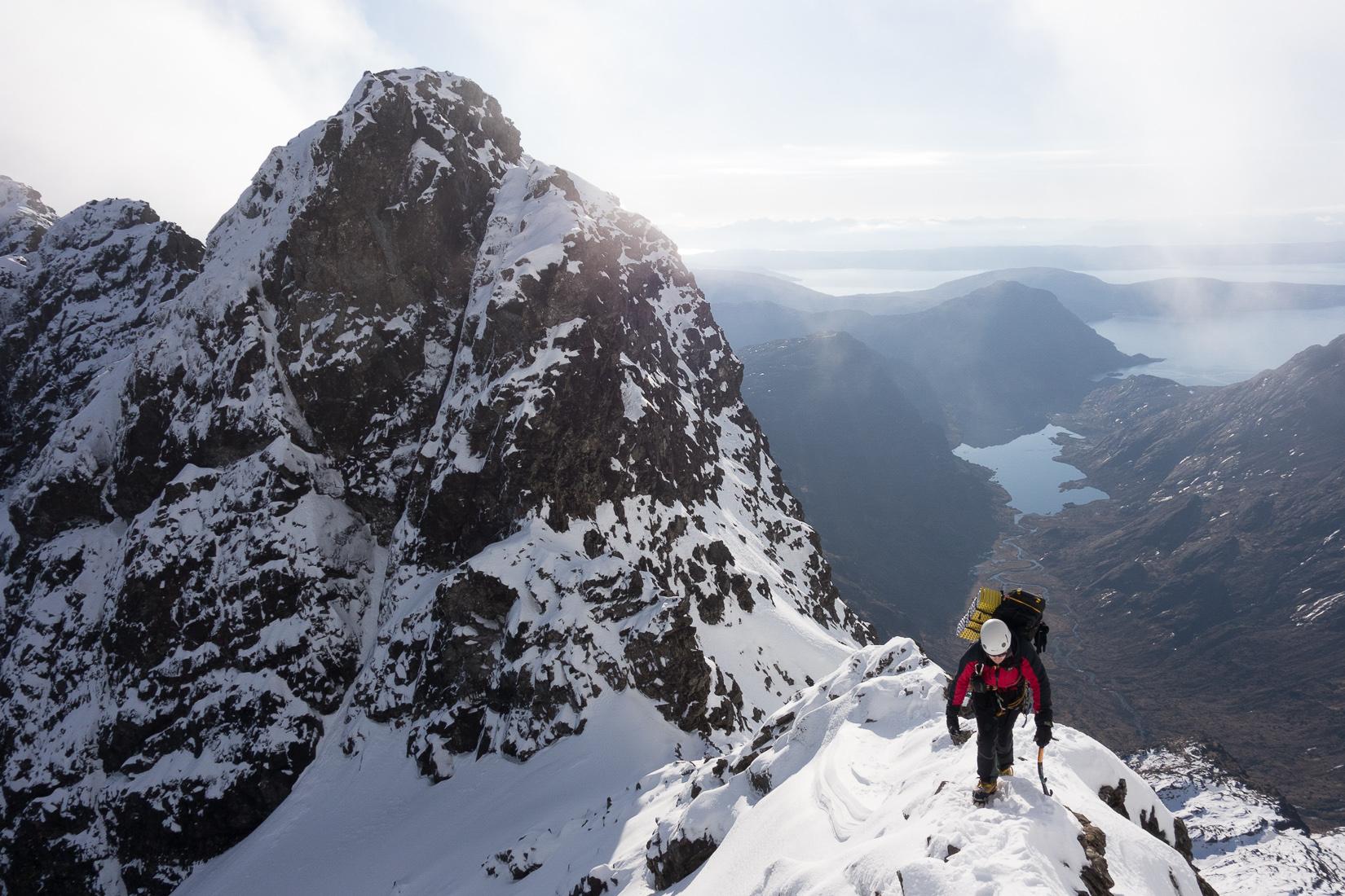 Climbing up to Sgurr a'Mhadaidh