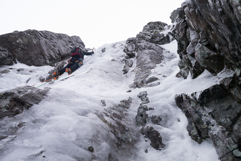 On the steep start to the second pitch