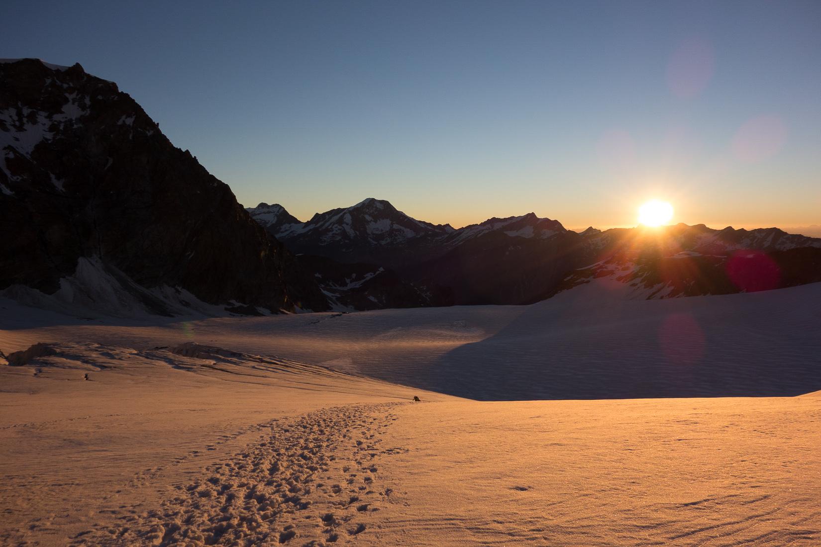 Sunrise on the Allalin glacier