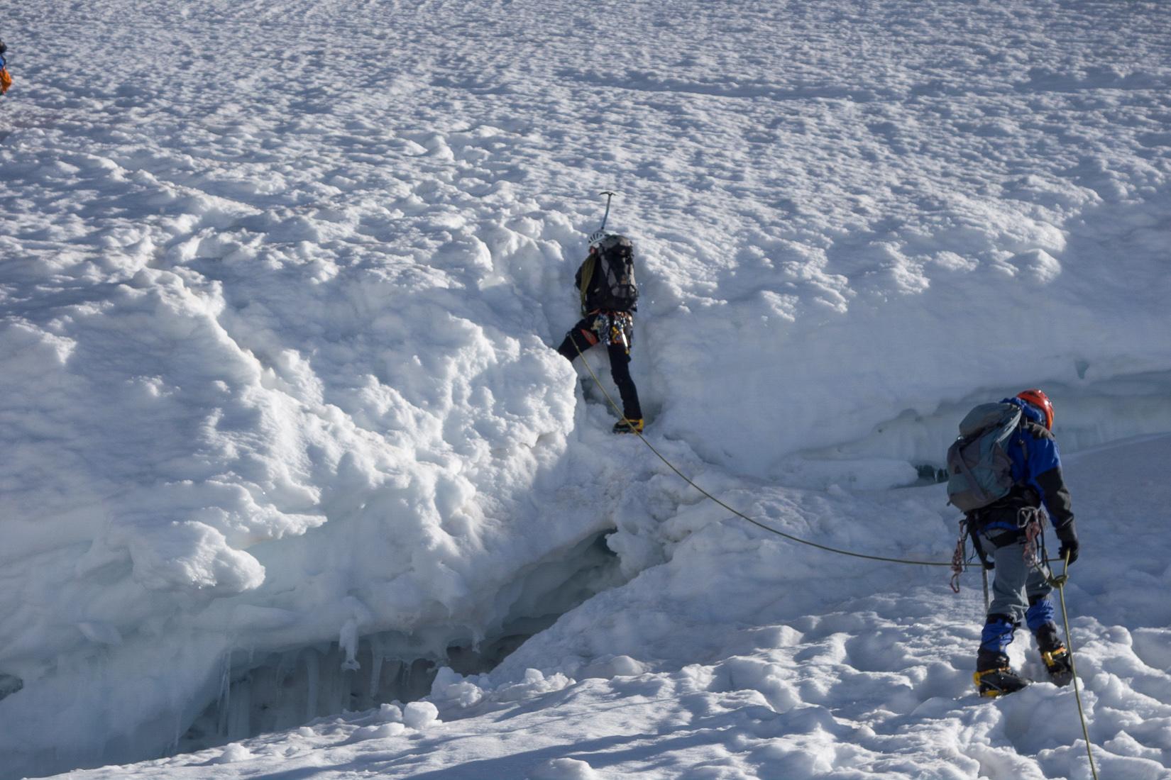 Climbing the bergschrund
