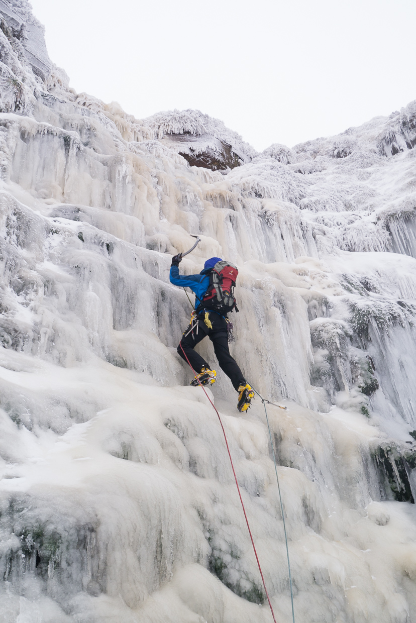 Me Climbing the main pitch of Torpantau Falls