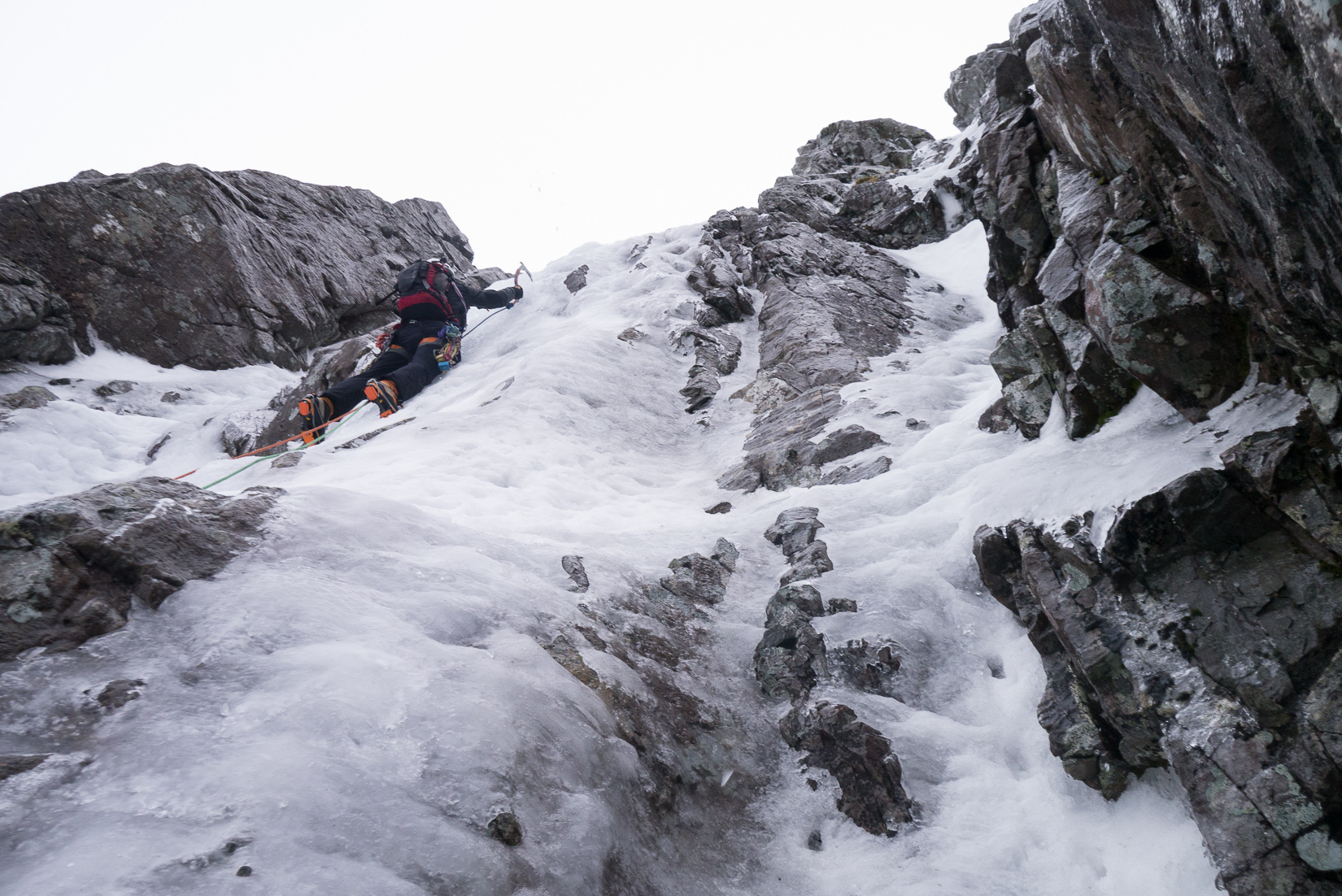 On the steep start to the second pitch of Minus Two Gully