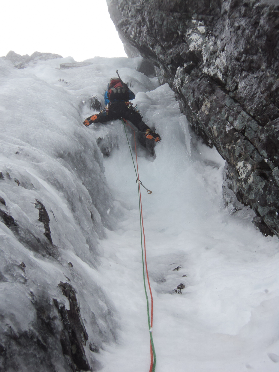 Me climbing the steep third pitch of Minus Two Gully