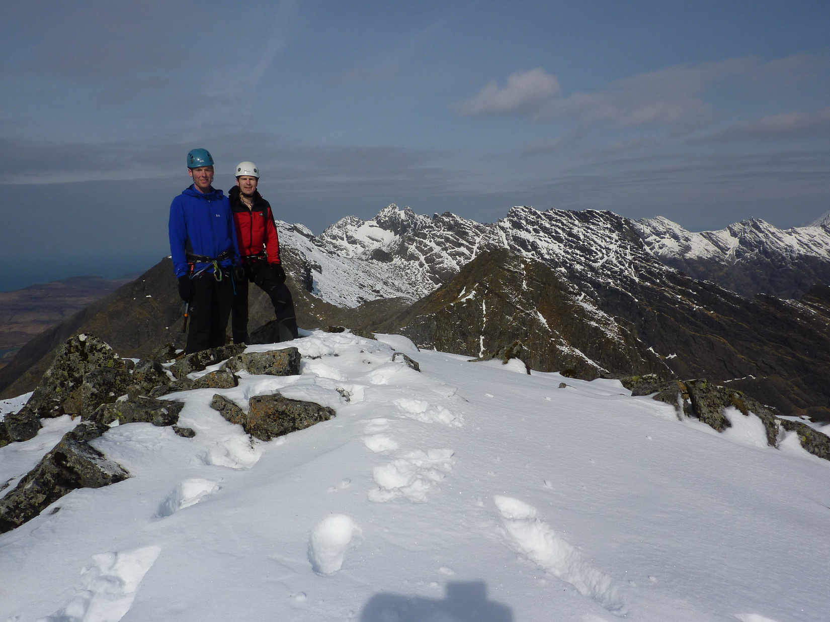 Tired at the end of a winter Traverse of the Cuillin Ridge