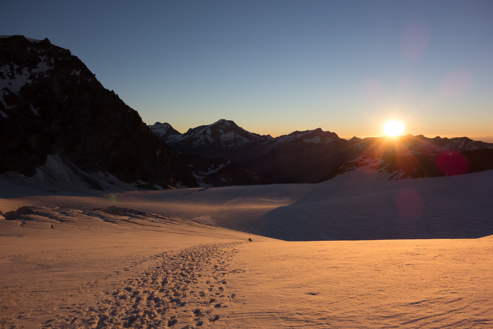 Sunrise on the Allalin glacier