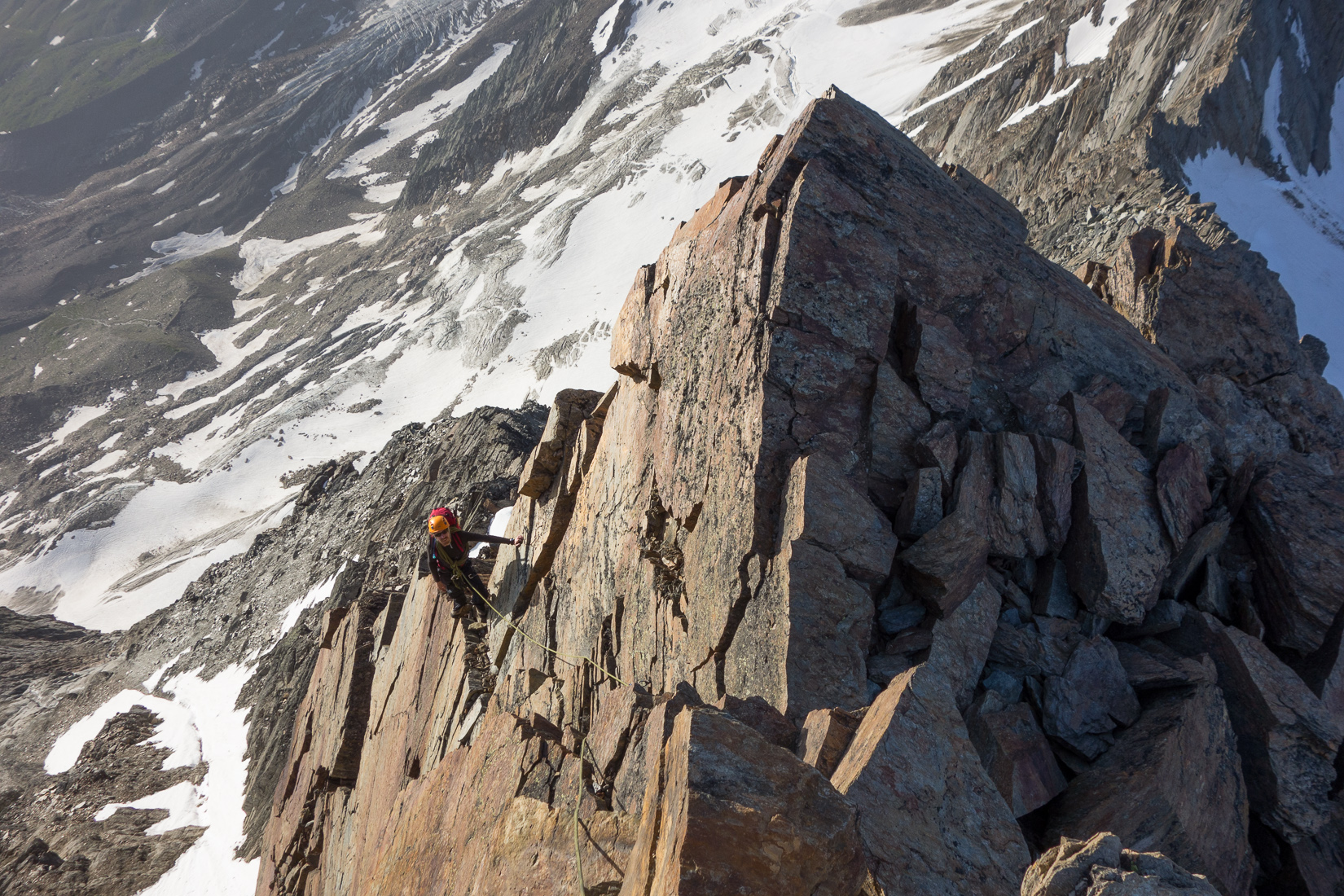 Nice exposure on the Lagginhorn Traverse