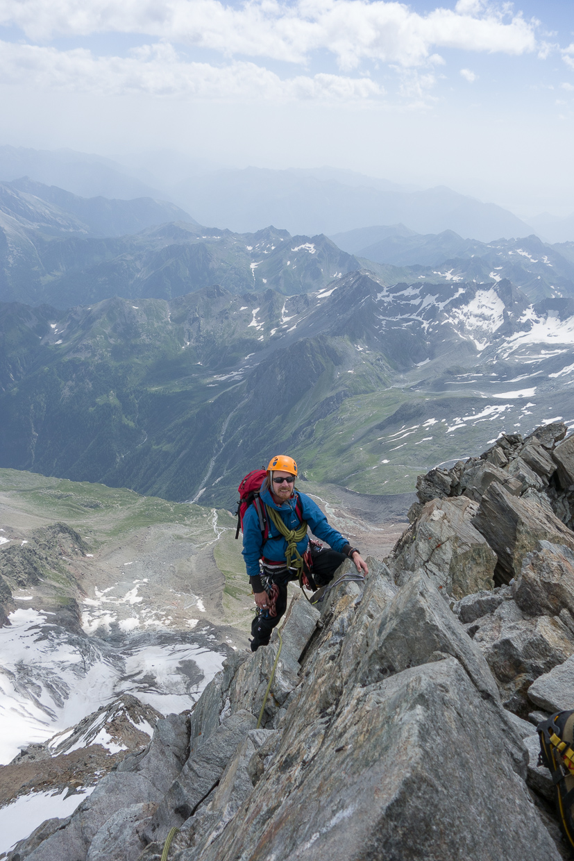 Final section of ridge on the Lagginhorn
