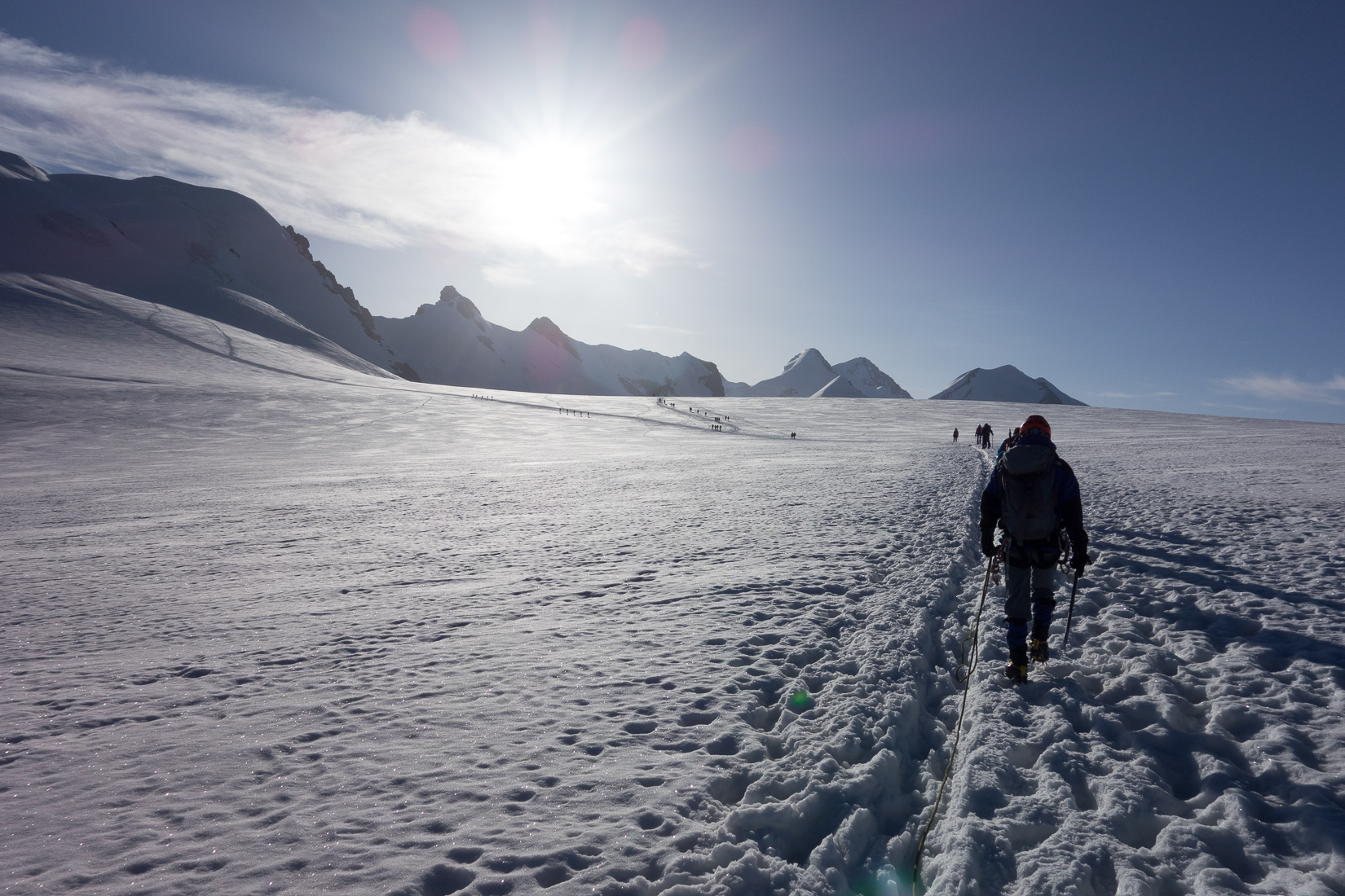 Crossing the Glacier below the Breithorn