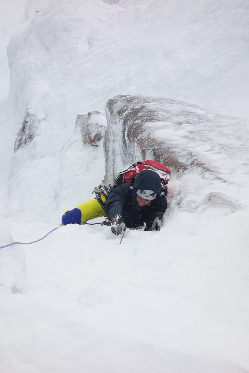 Nick on the second pitch of Poacher's Fall