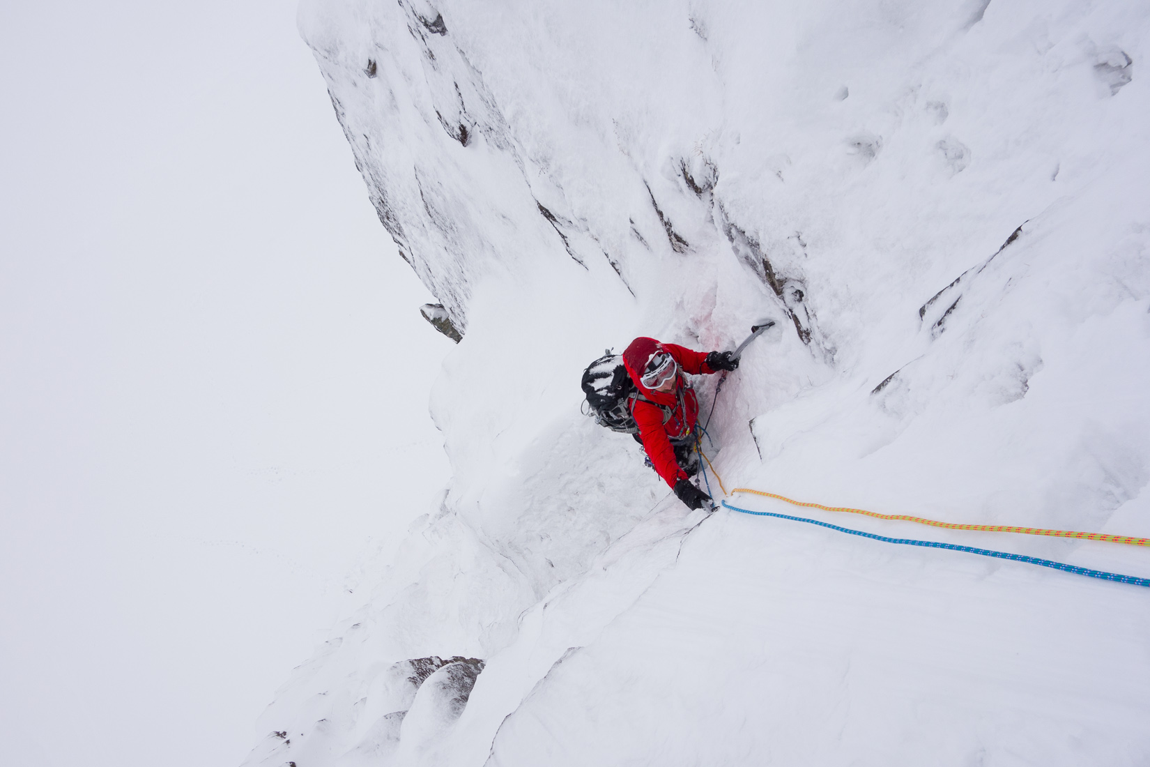 Brilliant climbing the first pitch of Raeburn's Route