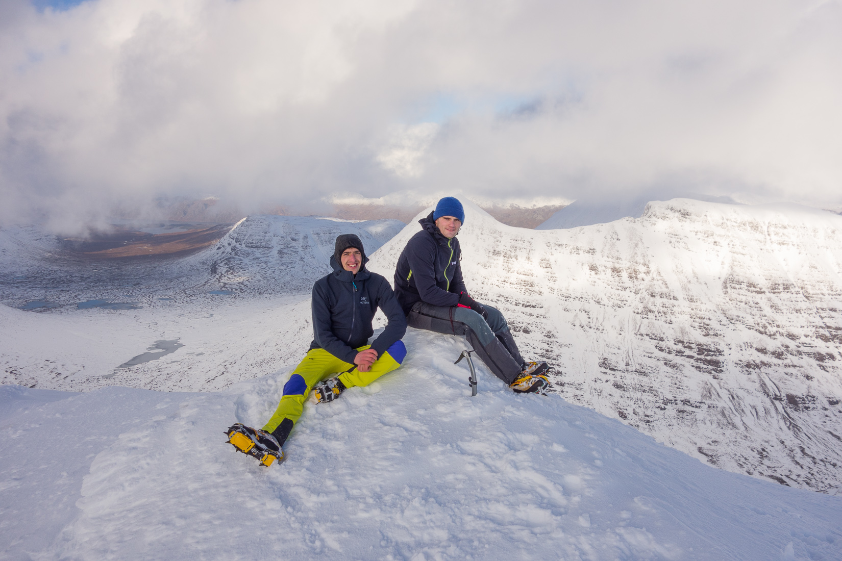 Nick and Alex on the summit of Spiderean Choire Leith