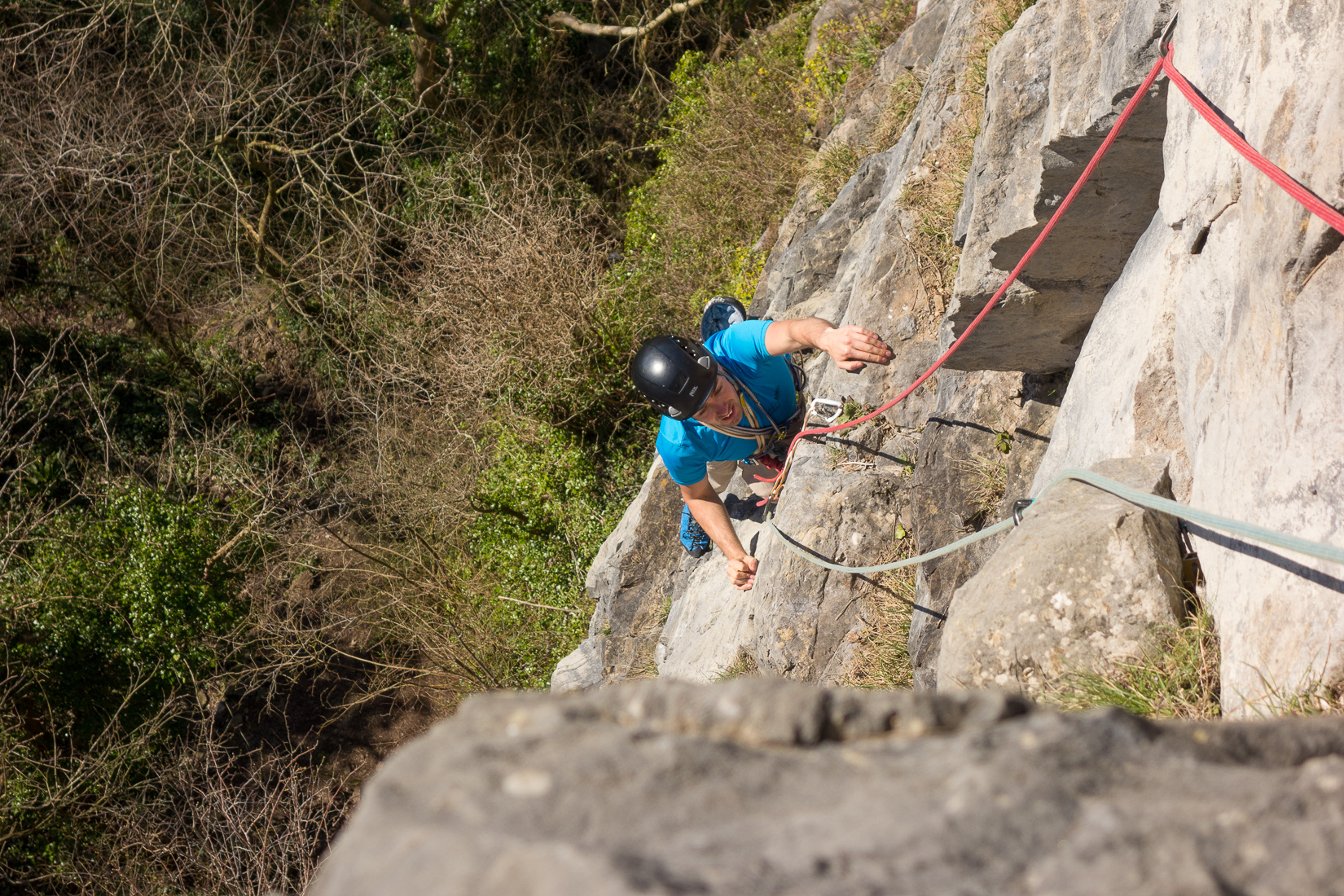 Andrew at the end of the fourth pitch of Angel's Girdle