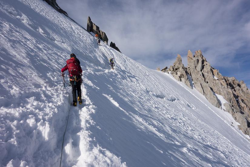 Traversing to the start of the ridge