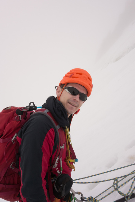 On a belay while descending the North West Face