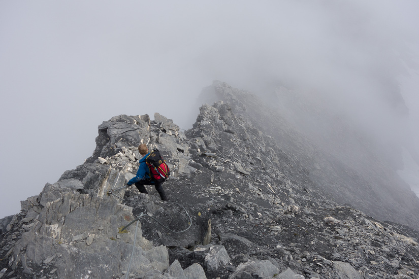 Back into the mist on the descent