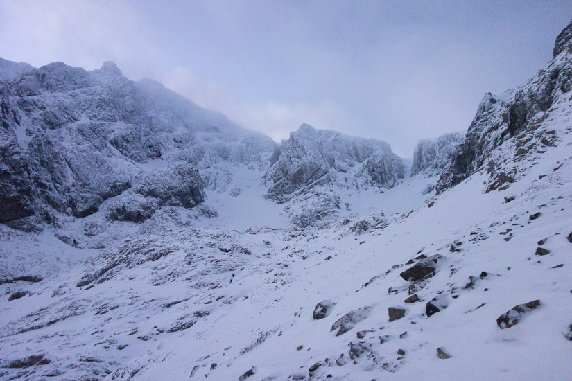 Walking into Coire na Ciste in the morning