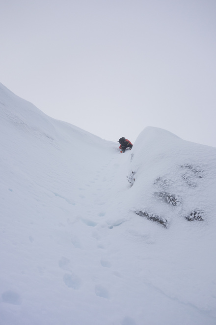 Descending the steep section of Number 3 gully