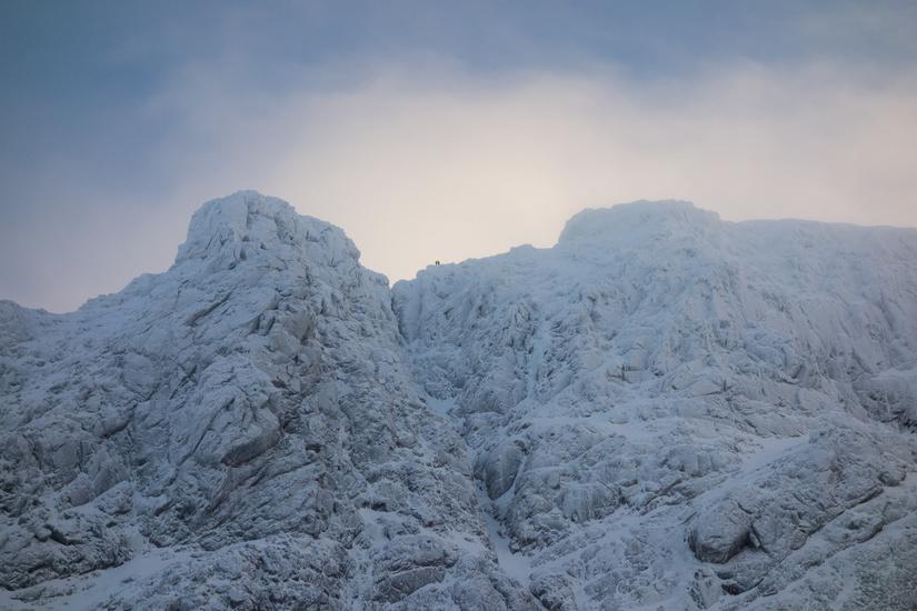 People near the top of Tower Ridge