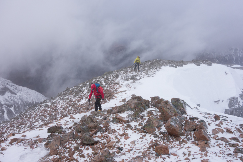 Heading up to the descent gully