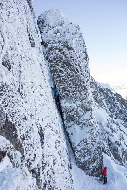 Another team on the icefall variation of Pillar Chimney