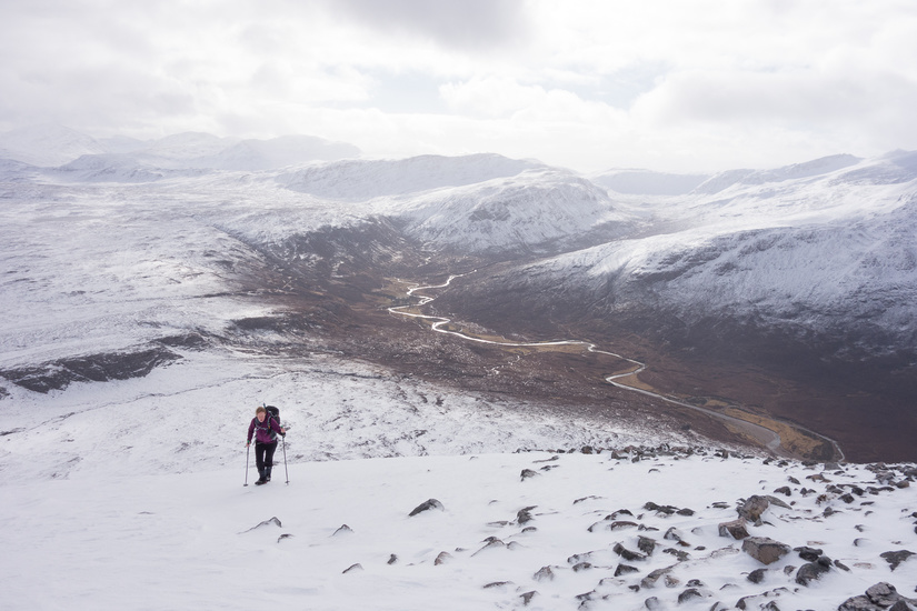Climbing Sàil Laith with  views to Fisherfield