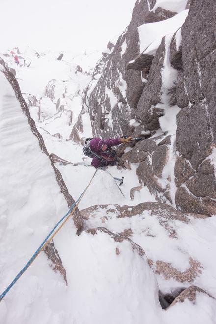 Great climbing on Hidden Chimney