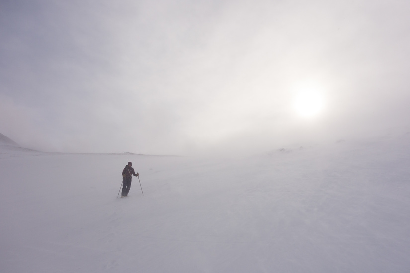 Lots of wind and spindrift on the descent