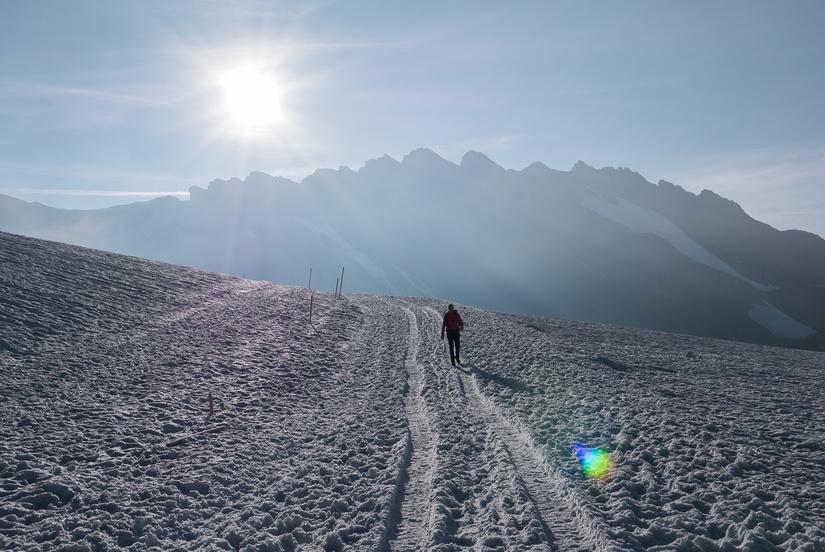 Walking back to the Jungfraujoch