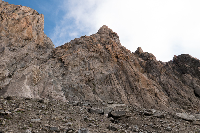 Looking up to the Aiguille d'Orny