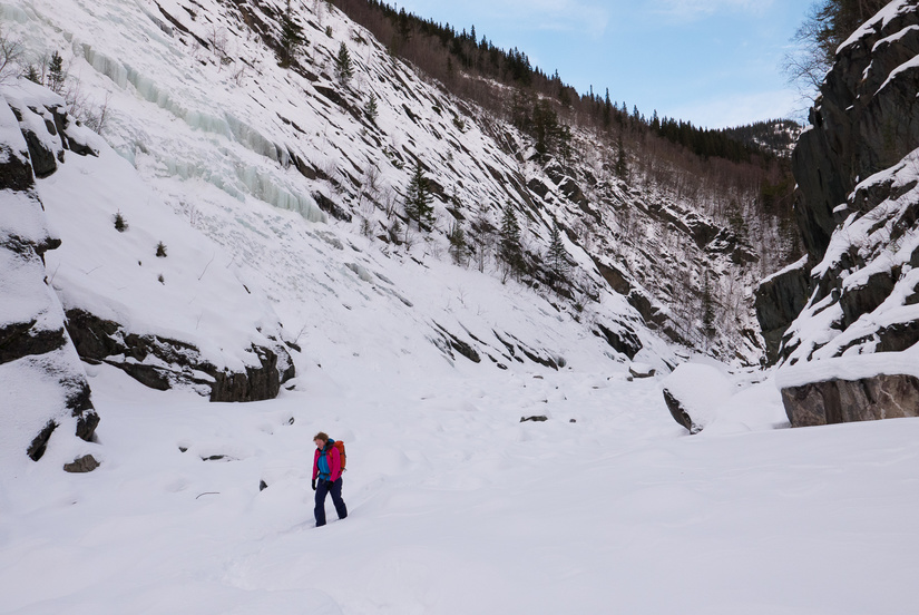 Lots of fresh snow in the upper gorge