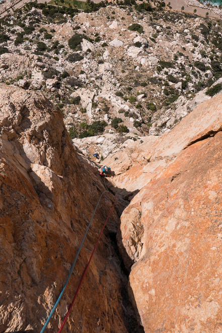 Climbing the first crux pitch