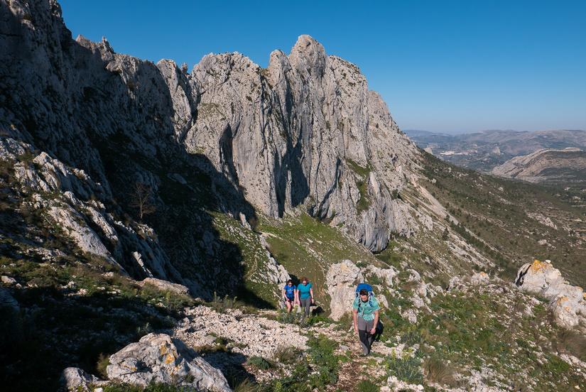 Hot walk up to the start of the ridge